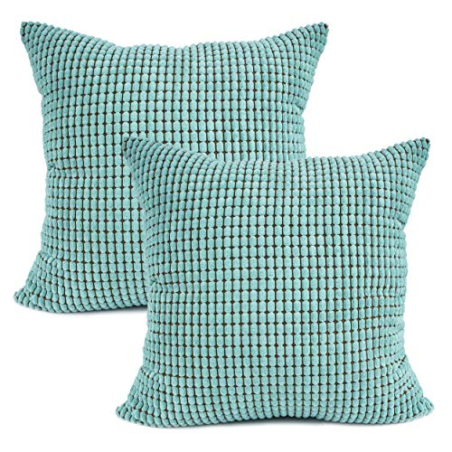 YOUR SMILE Pack of 2 Cozy Bolster Pillow Cover Case for Couch Sofa Bed Comfortable Supersoft Corduroy Corn Striped Both Sides 18 X 18 Inche,Teal 18' Solid Poly Cotton