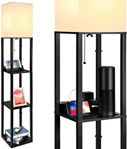 Upgrade Floor Lamp with Shelves – Fast Charging USB Ports & Electric Outlet for Living Room - Standing Tall Corner Lamp with Storage, Modern Narrow Tower Nightstand for Bedroom – Black