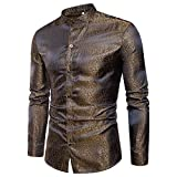 MAGE MALE Men's Luxury Dress Shirt Casual Long Sleeve Camouflage Fitted Wrinkle Free Shirt (52-Gold, XL)