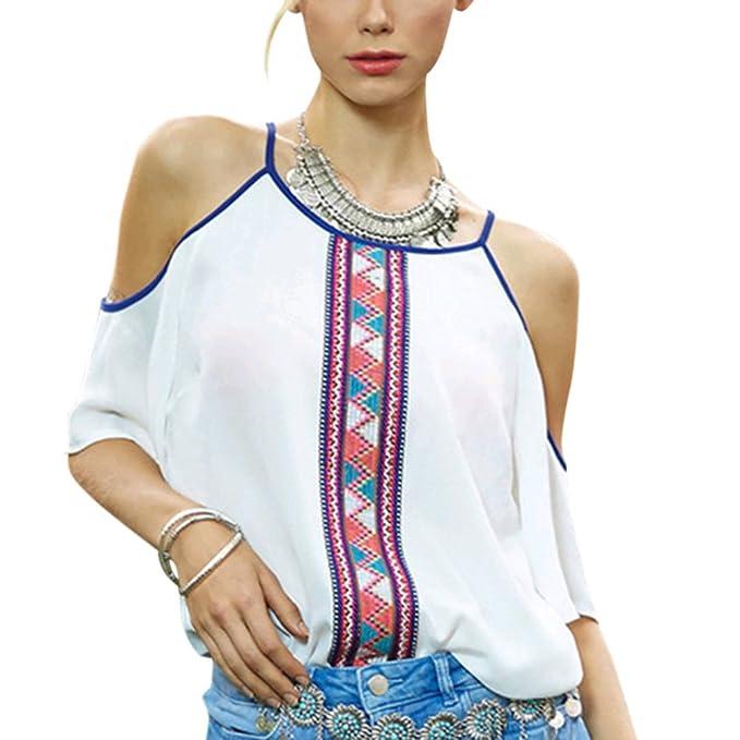 Zantec Blusa de gasa, de moda Impresión de la raya de la flor de las mujeres Camisa de las tapas de la gasa del diseño delgado del cuello del halter con los ...