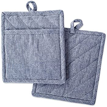 DII Cotton Chambray Pot Holders with Pocket, 9x8