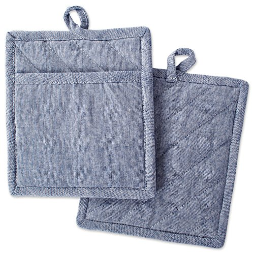 DII Cotton Chambray Pot Holders with Pocket, 9x8 Set of 2, Machine Washable and Heat Resistant Pocket Mitts for Kitchen Cooking and Baking-Blue