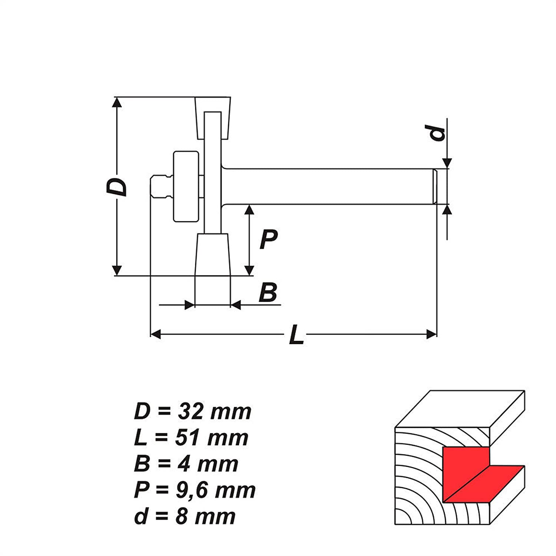 RP-S1 HM Scheibennutfr/äser Scheibenfr/äser Holzfr/äser Fr/äser D 32 mm P 4 mm Schaft 8 mm