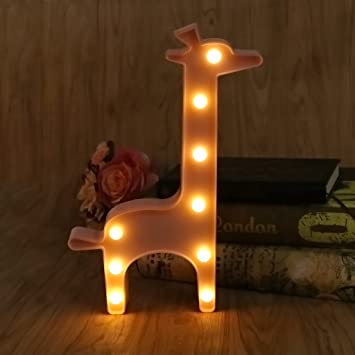 Merveilleux SYlive 3D Night Lamp, 3D Marquee Giraffe Table Lamp 9 LED Battery Operated  Night Light