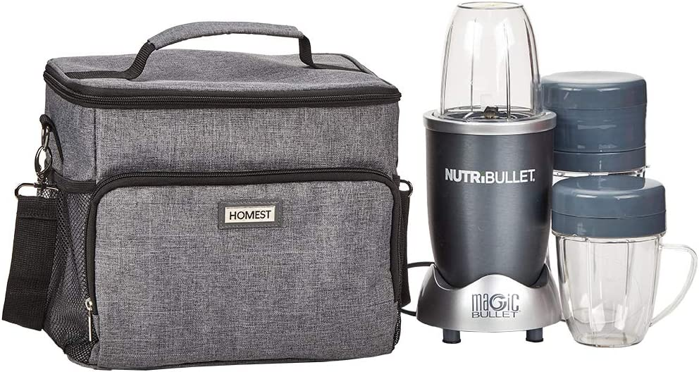 HOMEST Large Personal Blender Travel Bag with Custom Main Compartment, Carrying Case with Accessory Pockets Compatible with Nutribullet, Grey (Patent Pending)
