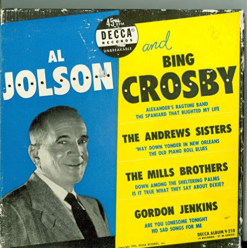 - Various Artists - Original Box Set - 4 vinyl 45s, 8 Songs w/Alexander's Ragtime Band / | The Old Piano Roll Blues / Way Down Yonder in New Orleans plus 5 more - Al Jolson / Bing Crosby (Decca Records 1951) Near-Mint (7 out of 10)