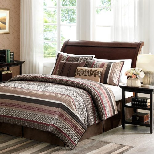 Madison Park Princeton King Size Quilt Bedding Set - Crimson Red, Jacquard Patterned Striped - 5 Piece Bedding Quilt Coverlets - Ultra Soft Microfiber Bed Quilts Quilted Coverlet