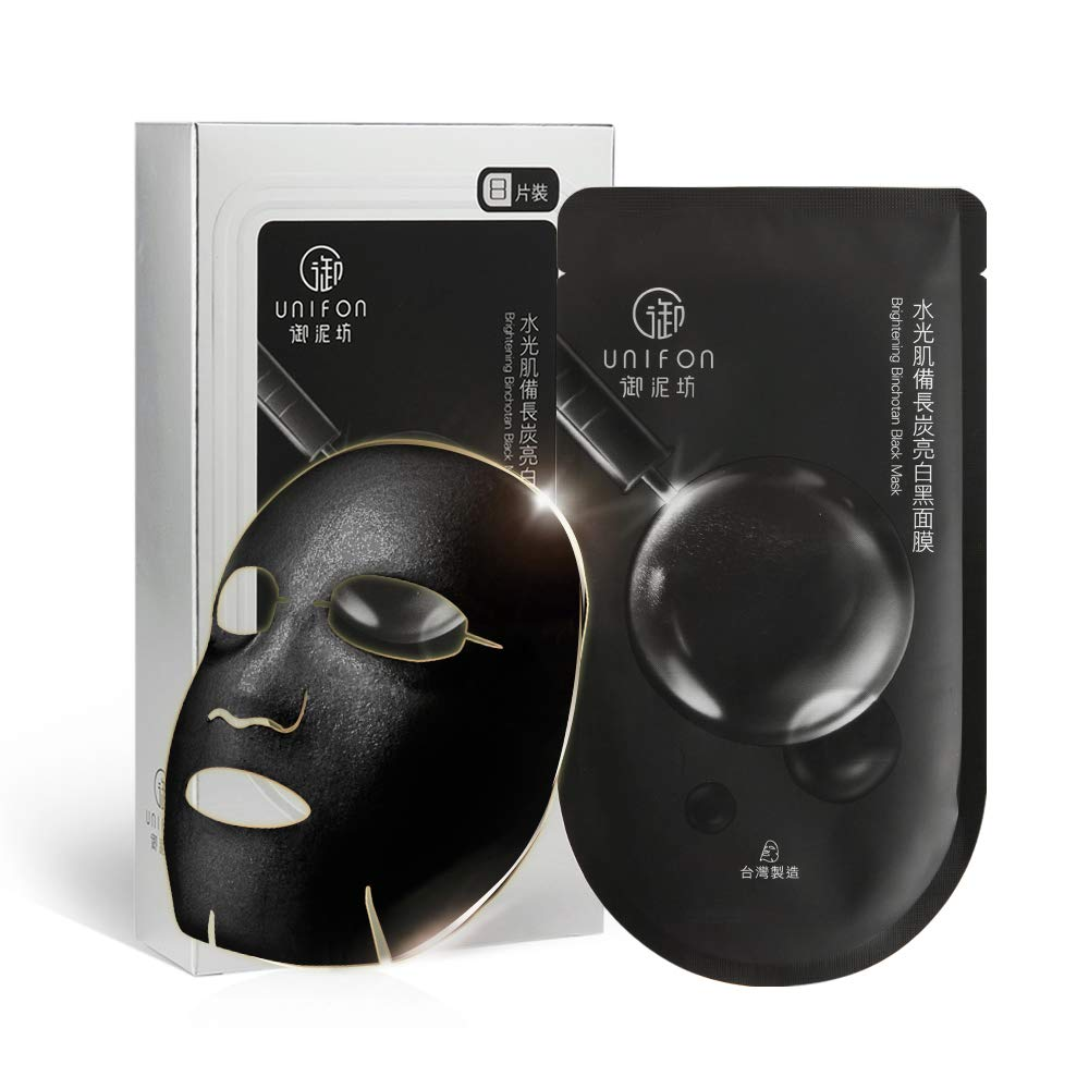 UNIFON Facial Mask Sheet Black, Essence Full Skin Care Moisturizing Hydrating Whitening Brightening Japan Binchō-tan Mask Cloth, Pack of 8