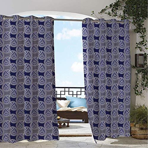 Patio Waterproof Curtain Blue Paisley Vintage Look Continuous Floral Teardrops Dots Arrangement Print Indigo and Dark Lavender pergola Grommets Decor Curtains 72 by 84 inch ()
