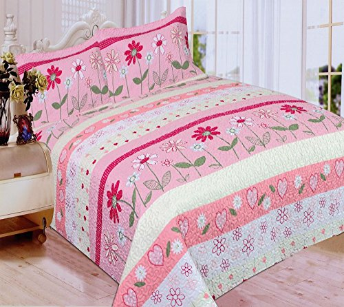 Mk Collection 3 Pc Bedspread Teens/girls Pink Floral New (Full/queen)