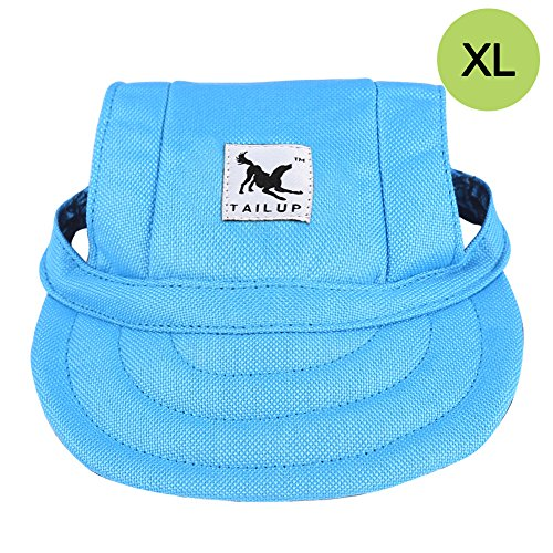 Pet Baseball - CALIFORNIA CADE ELECTRONIC Cade Pet Baseball Cap/Dogs Sport Hat/Visor Cap with Ear Holes for Small Dogs (Blue-XL)