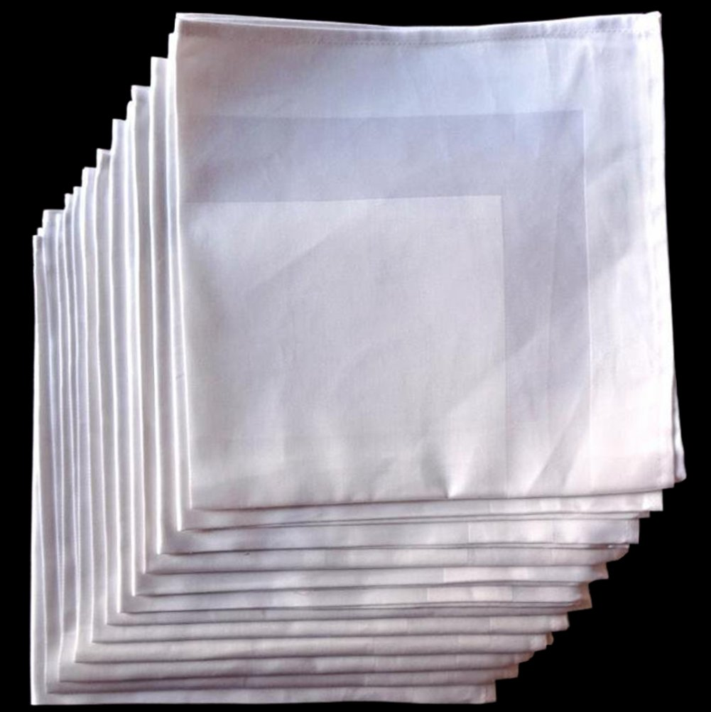 American Pillowcase Cloth Dinner Napkins Set of 12 - White Satin Band Napkins - 100% Egyptian Cotton 22x22
