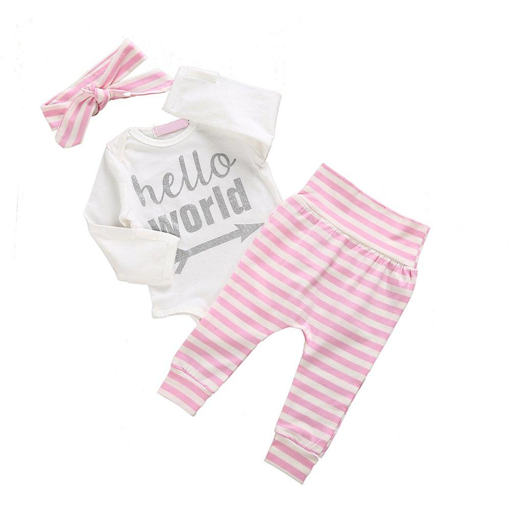 Pu Ran Ragazze Bimba e rosa bianca e bianca Bowknot Fascia Bandana Pantaloni Abbigliamento Set