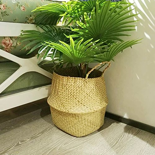 ss Tote Belly Basket for Storage, Laundry, Picnic, Plant Pot Cover, and Beach Bag (Grass Woven Tote)