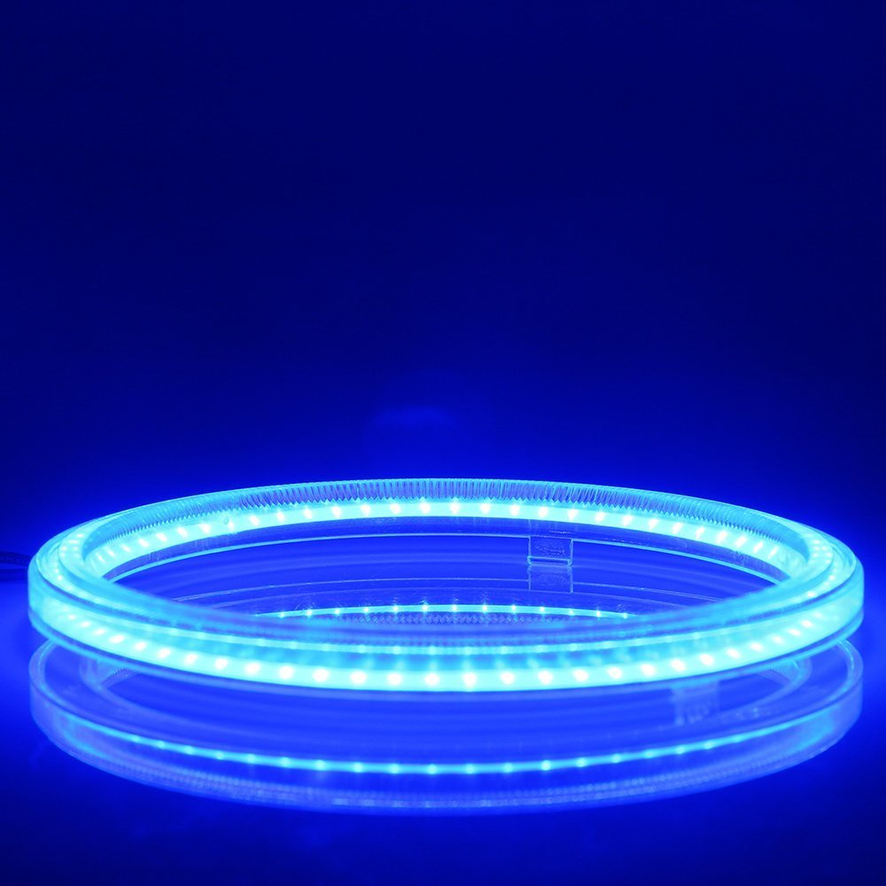 GrandviewTM 1 Pair 2pcs Car Light LED Chips 110MM 83SMD Angel Eyes Halo Ring Headlight Warning Lamps 12V Shell-White