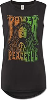 product image for Soul Flower Women's Organic Power to The Peaceful Muscle Tank Top, Black Long Graphic Yoga Top, Sleeveless Ladies Shirt