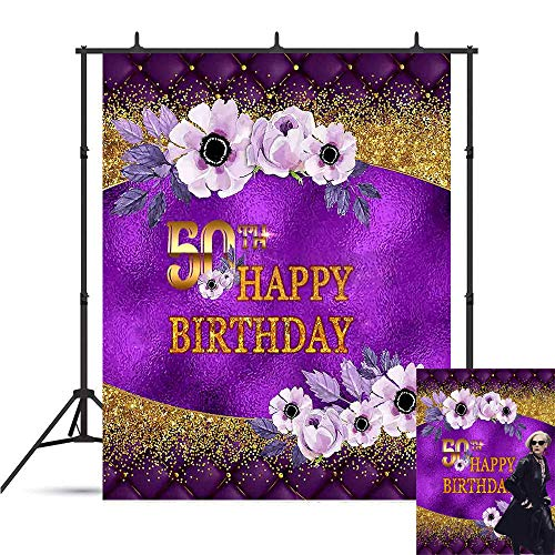 Art Studio Glitter Purple and Gold Flowers Theme 50th Birthday Party Decoration Photography Backdrop Sassy Sexy Lady Banner Photo Background Studio Props Booth Vinyl 5x7ft ()
