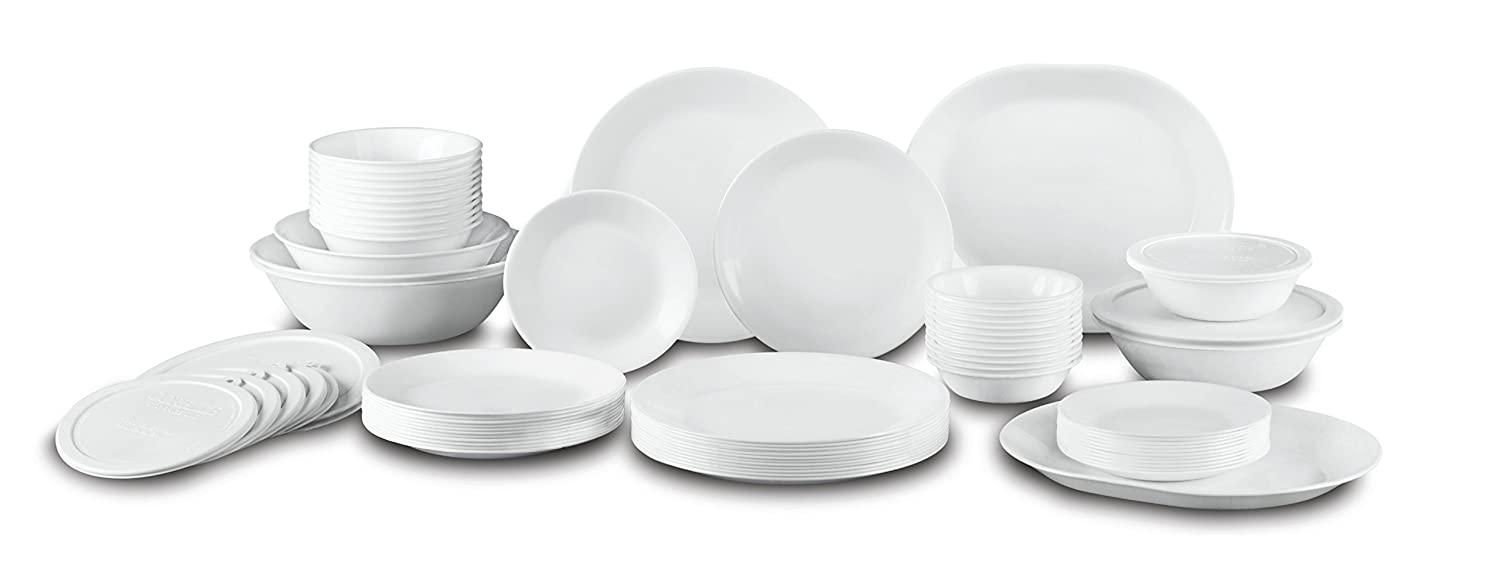 Corelle Livingware 74 Piece Dinnerware Set with Storage Lids, Service for 1
