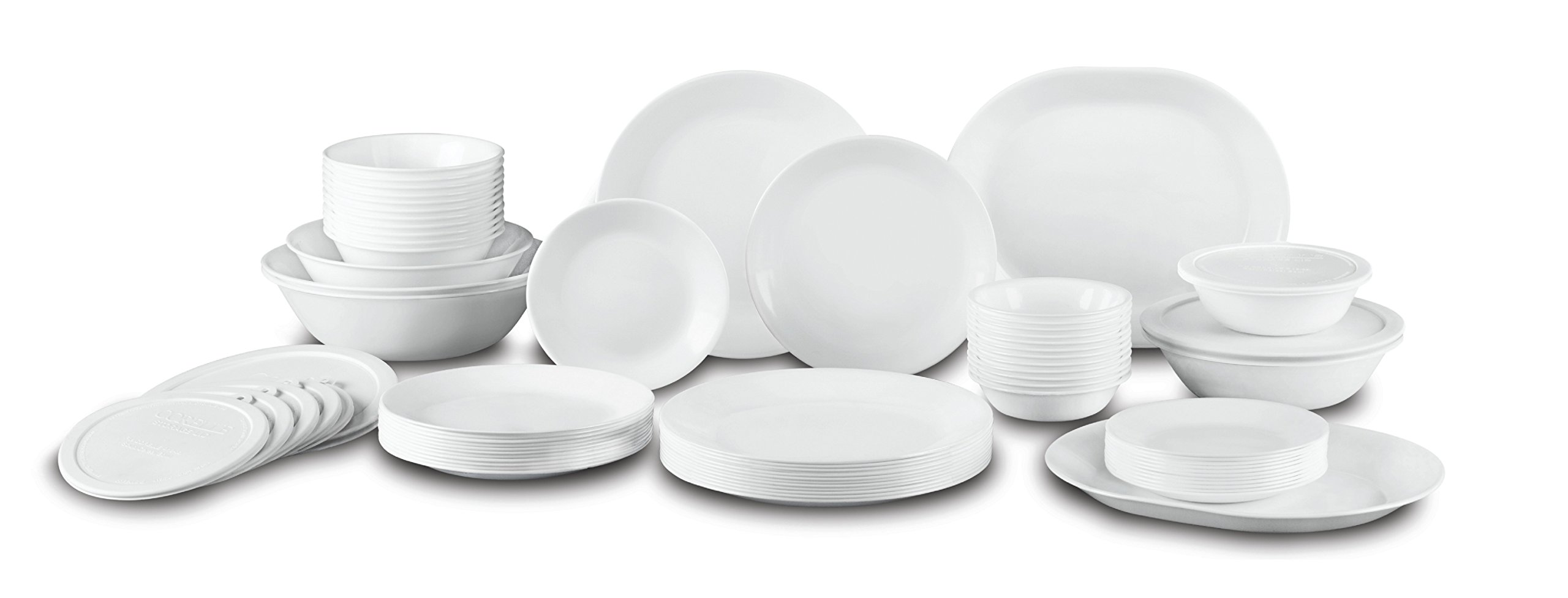 Corelle Livingware 74 Piece Dinnerware Set with Storage Lids, Service for 12, White by Corelle
