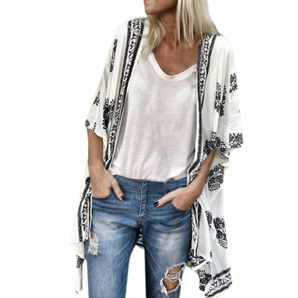 F_topbu Women's Floral Kimono Cardigans Boho Shawl Sunscreen Cover ups Half Sleeve Loose Sheer Blouse Top
