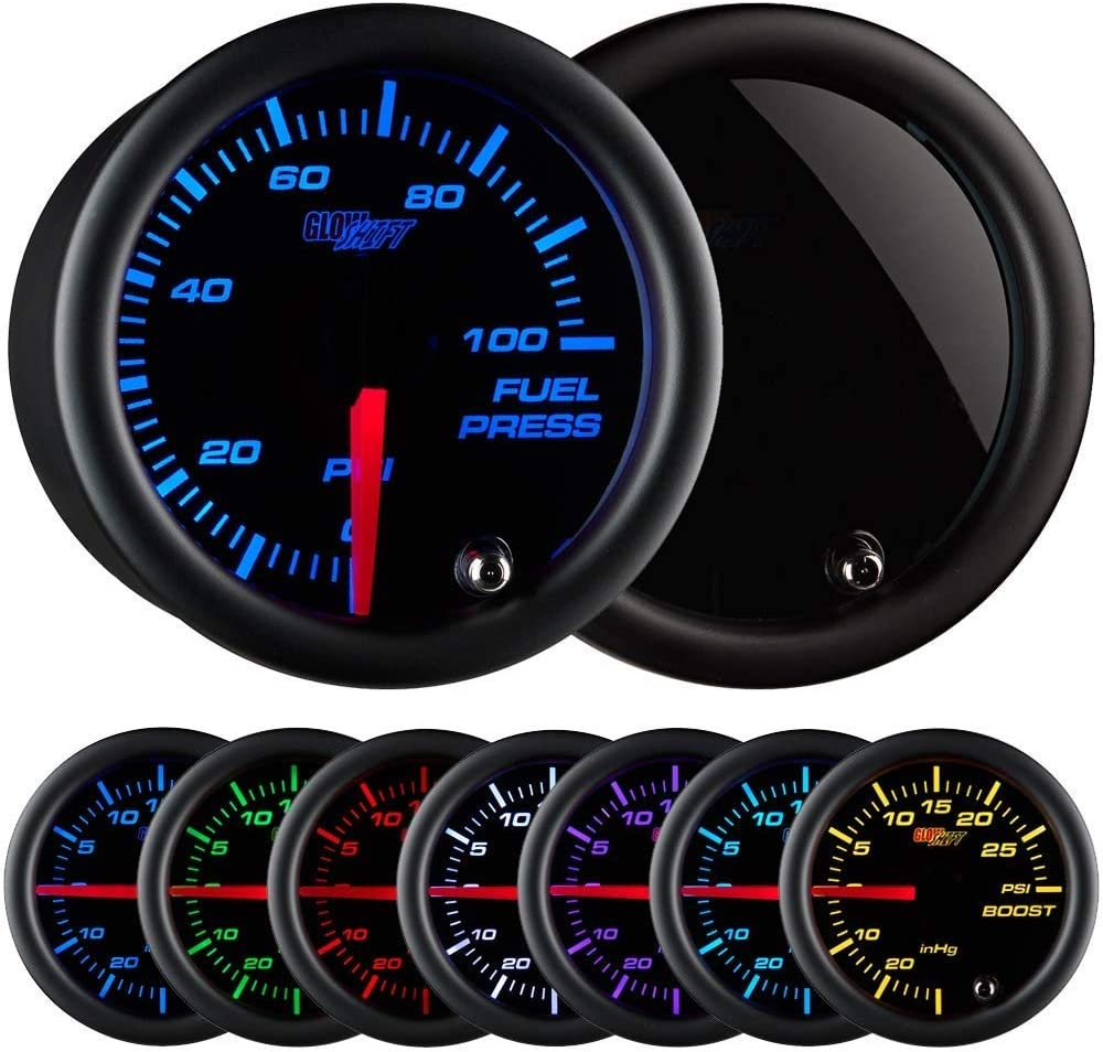 """GlowShift Tinted 7 Color 100 PSI Fuel Pressure Gauge Kit - Includes Electronic Sensor - Black Dial - Smoked Lens - For Car & Truck - 2-1/16"""" 52mm"""