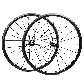 Yuanan Ruedas de Carbono para Bicicleta de Carretera, 30 mm, 700 C, 28 mm de Ancho, ...