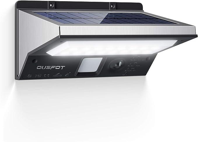 OUSFOT Luz Solar Exterior LED Foco Solar Exterior con Sensor de ...
