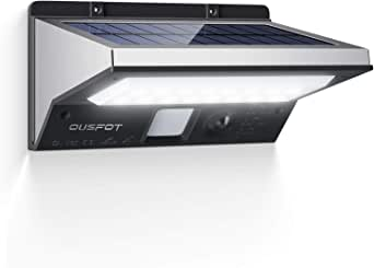 OUSFOT Luz Solar Exterior LED Foco Solar Exterior con Sensor de Movimiento Lámpara Solar Impermeable 3 Modos Gran Ángulo 120º de Iluminación 2200mAh para Jardín Muros Exteriores