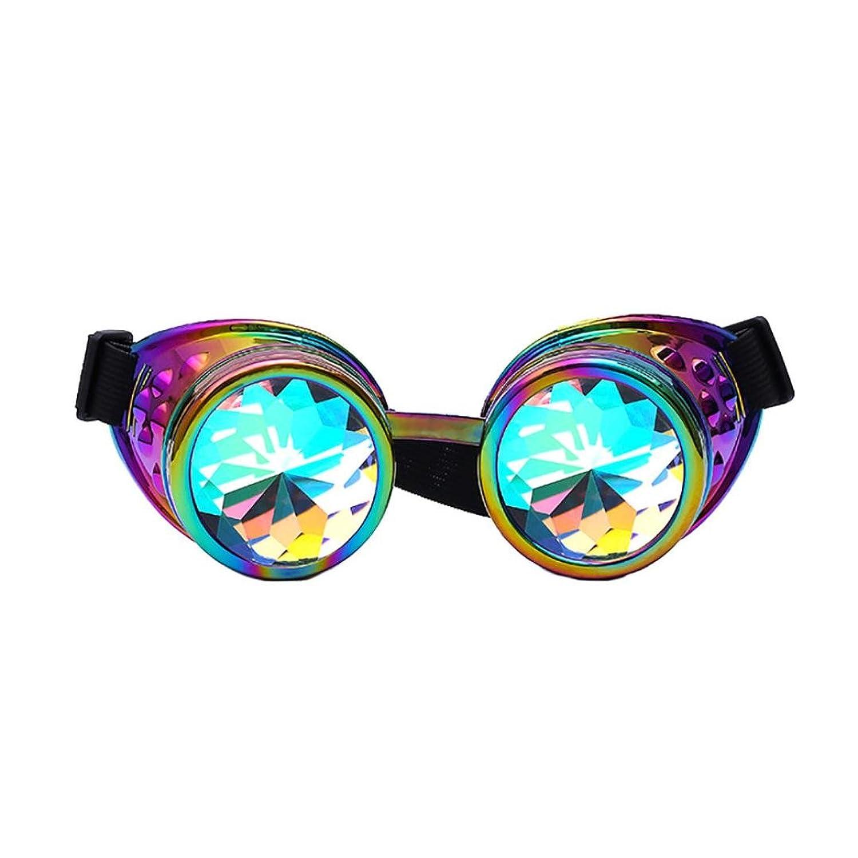 Lunettes de Kaléidoscope Femme,Manadlian Kaleidoscope Lunettes colorées Rave Festival Party Lunettes de soleil EDM Lentille diffusée