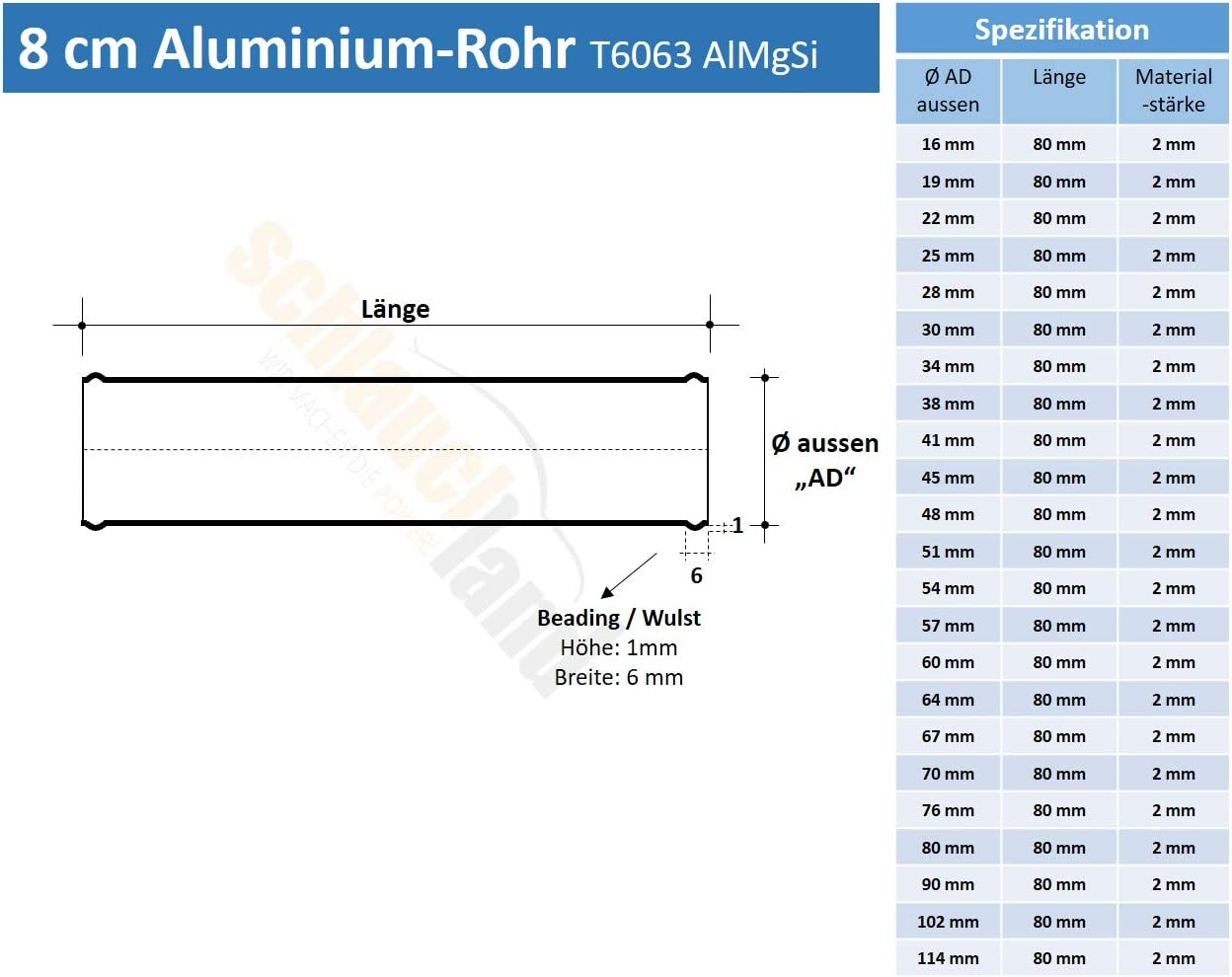 Alu-Verbinder AD 48mm schwarz*** Alurohr Aluminium Rohr Schlauchverbinder Turbo