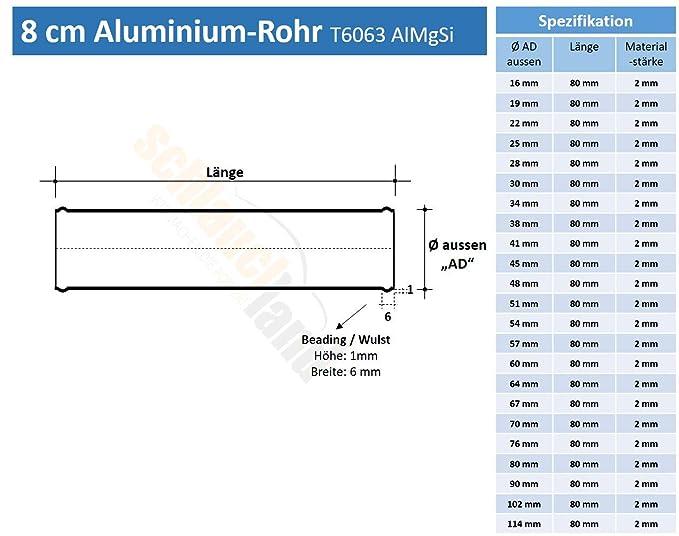 Alu-Rohr 30cm AD 34mm rot*** Alurohr Aluminium Rohr Schlauchverbinder Turbo LLK