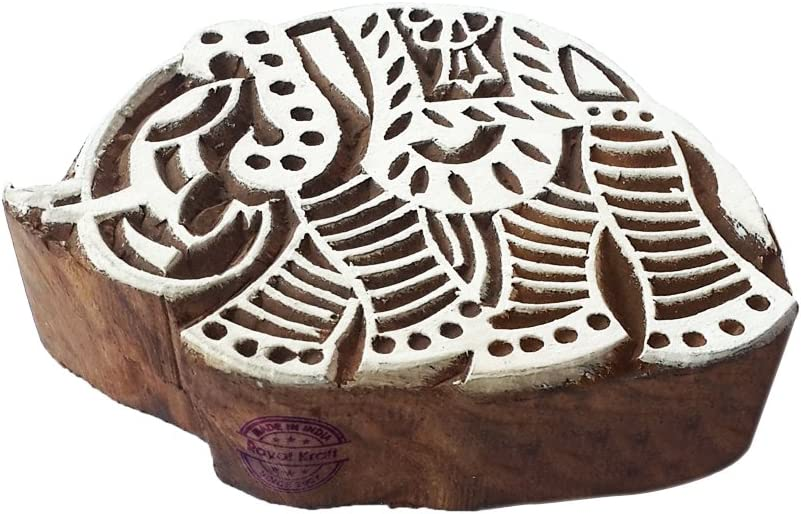 Handmade Fish Aquatic Shape Wood Block Stamp DIY Henna Fabric Textile Paper Clay Pottery Block Printing Stamp