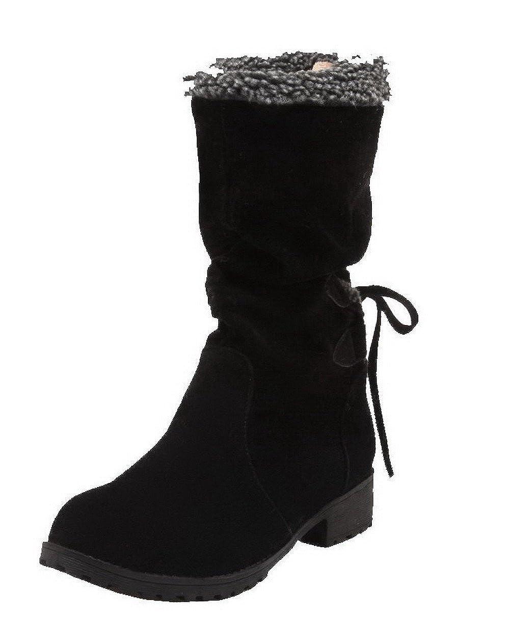 AgeeMi Mitte-Spitze Schuhes Damen Ziehen auf Rein Niedriger Absatz Mitte-Spitze AgeeMi Stiefel Schwarz fe6964