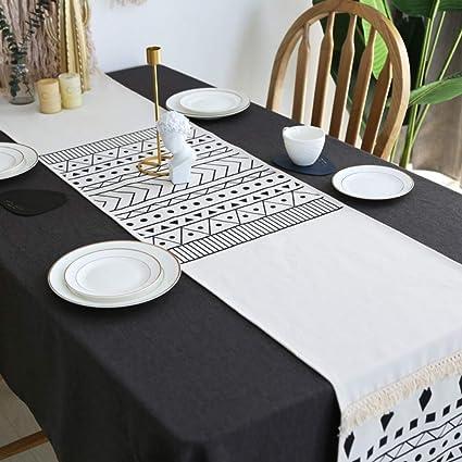 Geometrischer Kreis Schwarz und Grau Tischläufer
