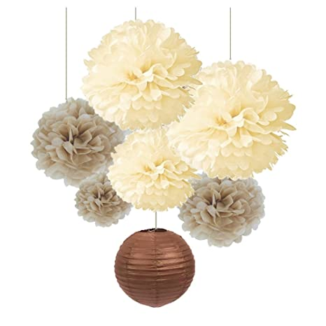 Sunbeauty Pack Of 7 Cream Tan Color Tissue Paper Pom Poms Brown Paper Lanterns Party Wedding Birthday Decorations