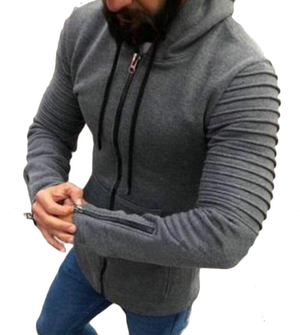 YYear Men's Solid Zip-up Pleated Long Sleeve Hooded Sweatshirt Jackets Gray L