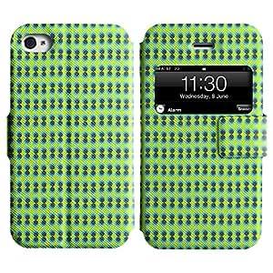 LEOCASE círculos fresco Funda Carcasa Cuero Tapa Case Para Apple iPhone 4 / 4S No.1005996