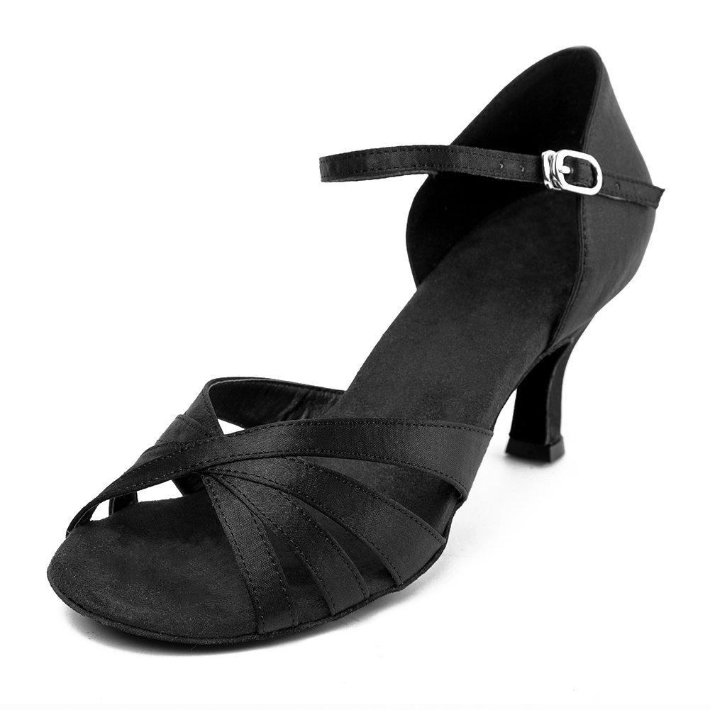 HIPPOSEUS Damen Mauml;dchen Sandalen Ausgestelltes Tanzschuhe/Ballsaal Standard Satin Latein Dance Schuhe,DEAF416  39 EU|6.5CM Schwarz