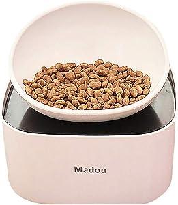 ALBOLET French Bulldog Food Bowl with Food Storage Containers, Raised Dog&Cat Bowl, Non-Slip, Slanted Dog Cat Bowl, White
