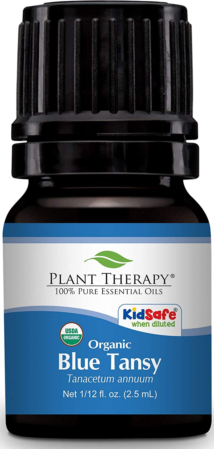 Plant Therapy Blue Tansy Organic Essential Oil 100% Pure, Undiluted, Natural Aromatherapy, Therapeutic Grade 2.5 mL (1/12 oz)