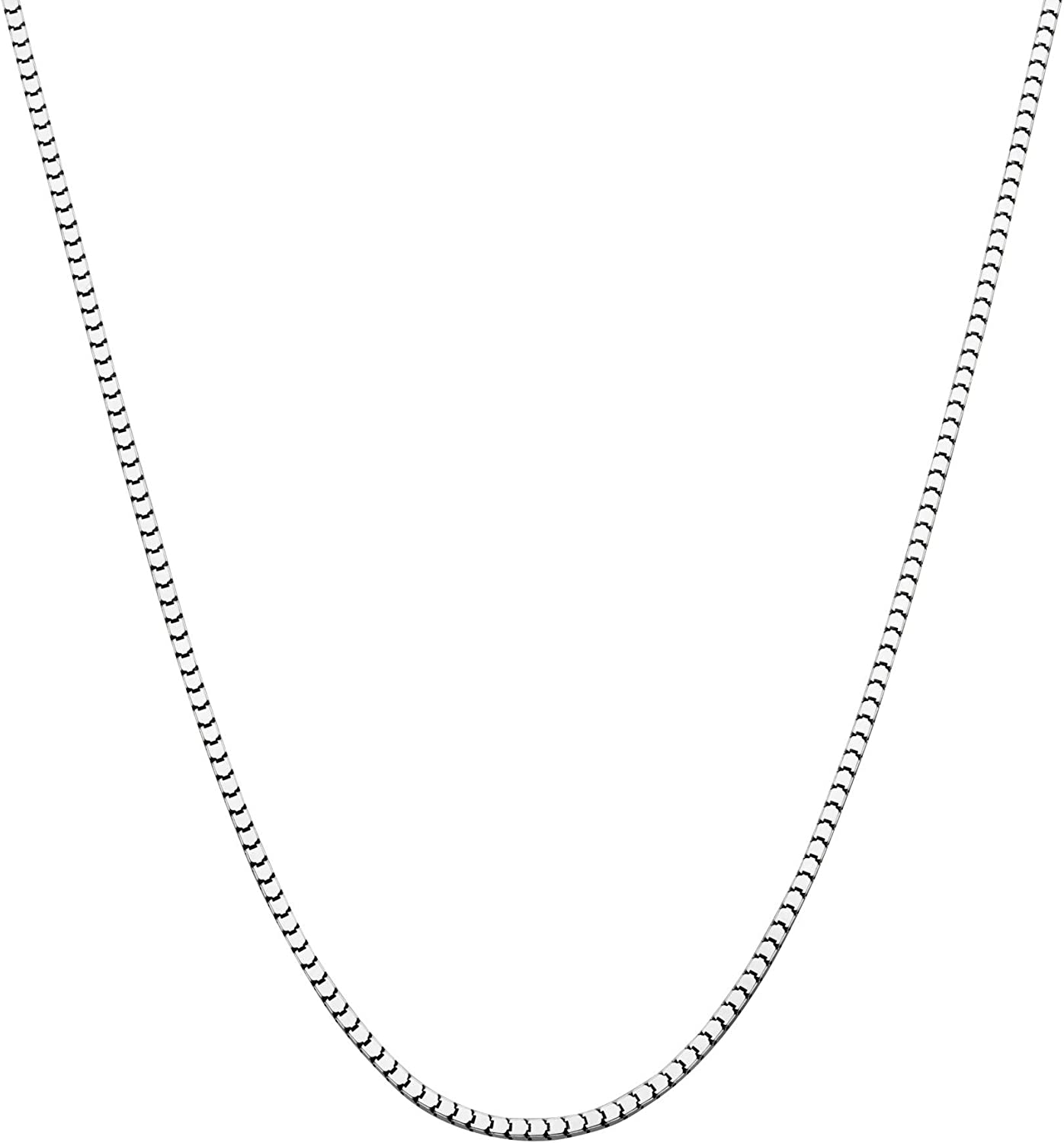 "Miabella 925 Sterling Silver Italian 1.6mm, 2.2mm Square Venetian Mirror Box Link Chain Necklace for Men Women, 16"", 18"", 20"", 22"", 24"", 26"", 30"""