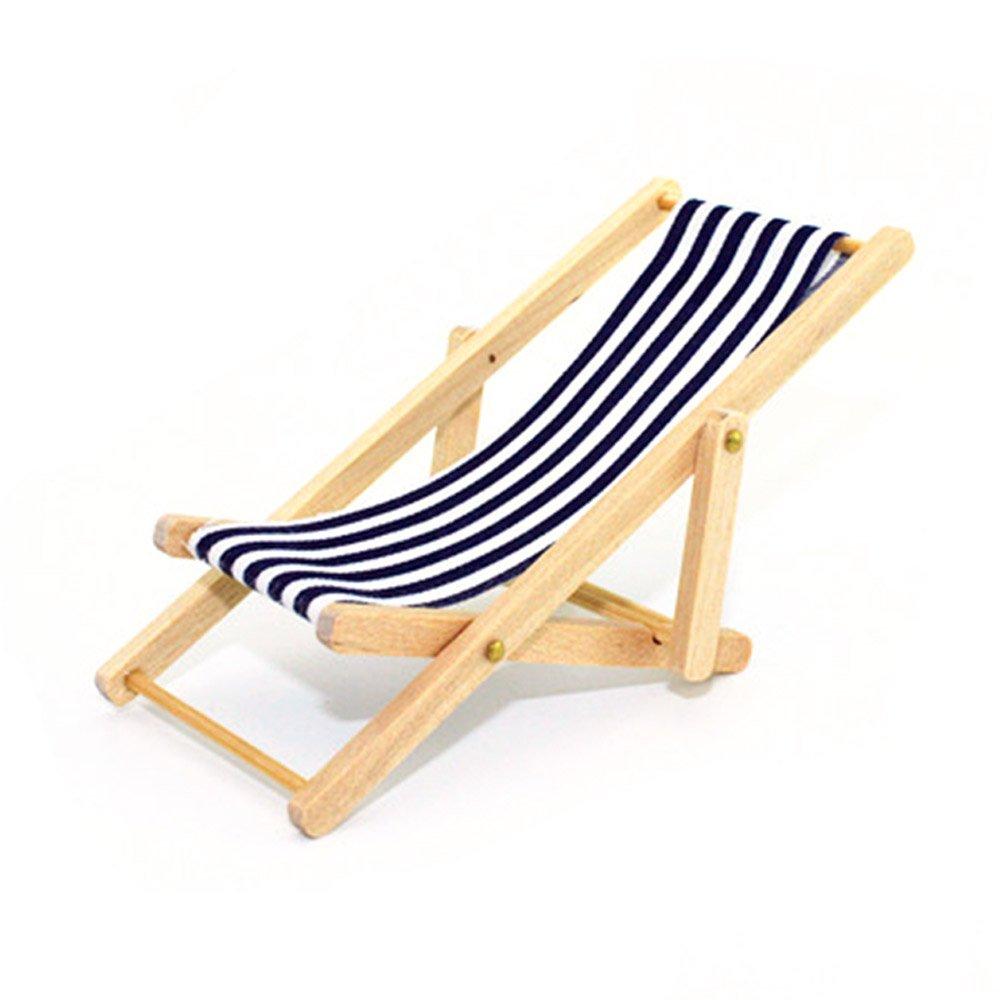 Vococal - 01:12 Mini Holz-Liegestuhl für Puppenhaus - Streifen ...