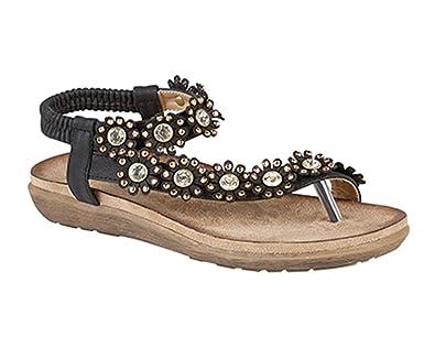 088b504daaaa Boulevard Snake Pattern Toe Post Sling Back Summer Mule Sandals - Black PU