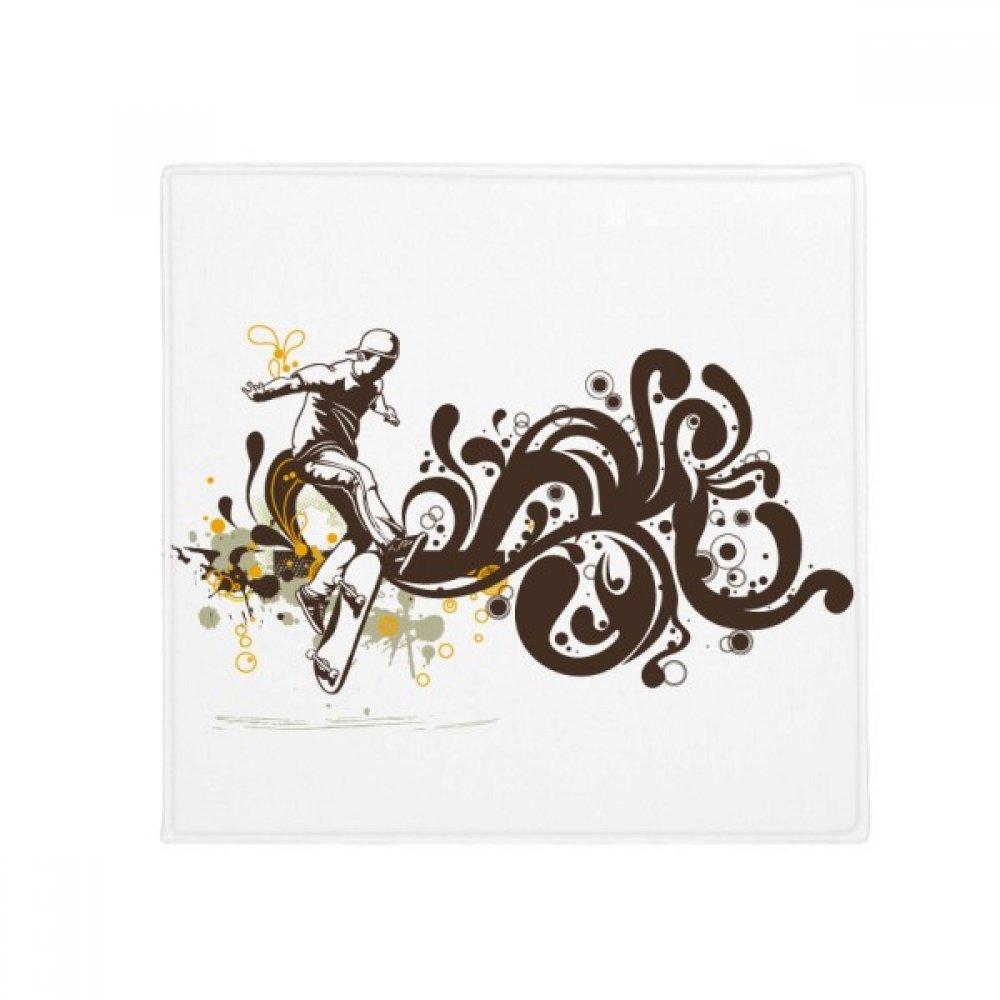 DIYpensatore Winter Sport Skiing Flower Pattern Anti -slip Floor Pet Mat Square Home Kitchen Door 80Cm Gift