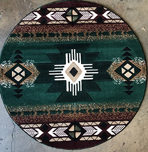 Southwest Native American Round Area Rug Hunter Green Design C318 (5 Feet X 5 Feet Round)