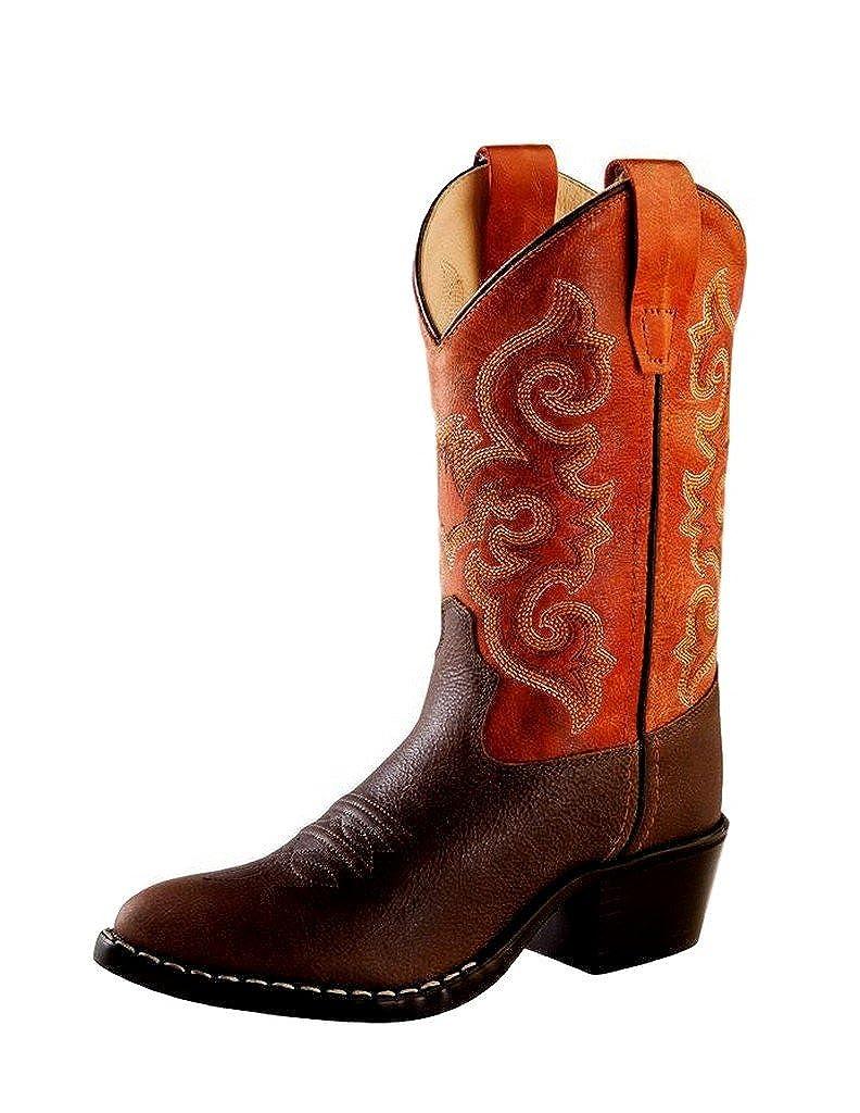 US Old West Boys Orange Cowboy Boot Round Toe Brown 9 D M