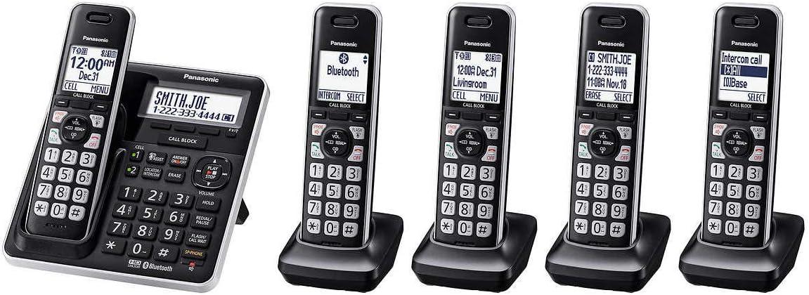 Panasonic KX-TG985SK DECT 6.0 Bluetooth 5-handset Phone Bundle