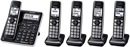 Panasonic KXTGE445 DECT 6.0 Corldess Phone System w// 5 Handsets Included Black