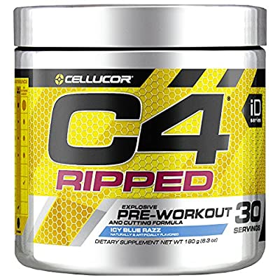 Cellucor C4 Ripped Pre Workout Powder, Thermogenic Metabolism Booster For Men & Women with Green Coffee Bean Extract, Icy Blue Razz, 30 Servings
