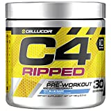 Cellucor C4 Ripped Pre Workout Powder, Thermogenic Fat Burner, Energy & Weight Loss Supplement For Men & Women, Icy Blue Razz, 30 Servings